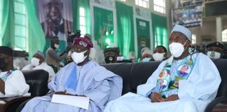 Celebrant, Asiwaju Bola Tinubu and host, Governor Abdullahi Ganduje of Kano State at the 12th Bola Tinubu Colloquium held in Kano