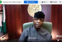 Vice President Yemi Osinbajo speaking during a Chatham House webinar on 23 March 2021