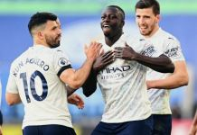 Mendy celebrates Man city's win over Leicester