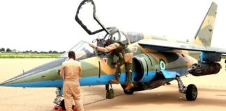 Wreck NAF Alpha Jet crashed in Borno state on the 31st of March