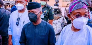 VP Osinbajo on an on-site inspection of the destroyed Imo prison and Police Headquarters