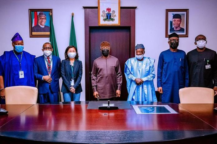 Vice President Yemi Osinbajo SAN receives a mission debrief from AFDB Officials on the Industrial Zone led by Toda Atsuko- Acting Vice President, Agriculture, Human and Social Development at the State House, Abuja