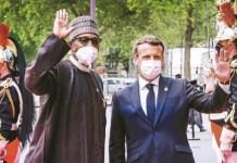 President Muhammadu Buhari and President Emmanuel Macron of france