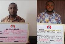Konne Israel Barieeba and Osuji Miracle Obieze were arrested by the EFCC for fraud
