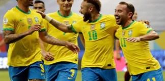 Neymar celebrates with Brazilian teammates