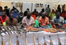 Nigerian Police parade some of the 84 notorious criminals arrested for banditry, kidnapping, etc