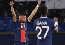 Paris Saint-Germain's Kylian Mbappé celebrates after the team knocked out Bayern Munich in a Champions League quarter-final last season on away goals