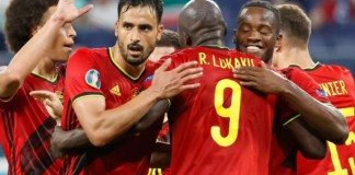 Romelu Lukaku celebrates Belgium's win with teammates