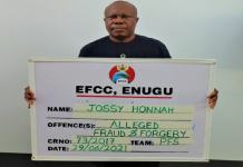 Jossy Honnah was arrested by EFCC for fraud and forgery