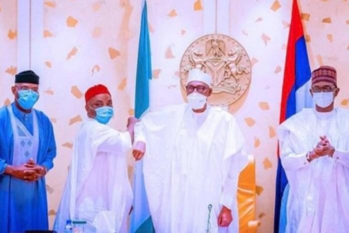 Senator Nwaoboshi with President Muhammadu Buhari at the State House, Abuja