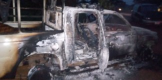 The assailants burnt down the police patrol vehicle after killing them