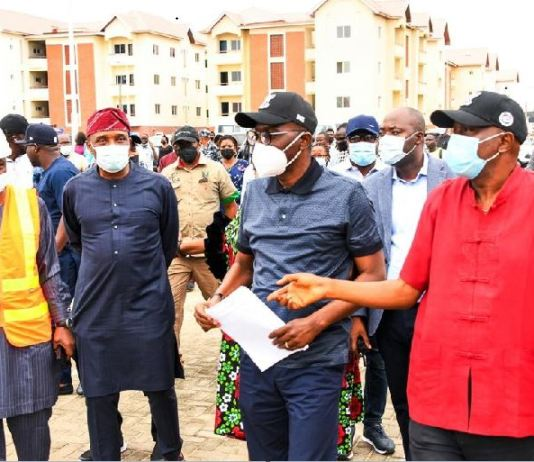 L-R: Permanent Secretary, Ministry of Housing, Mr. Wasiu Akewusola; Commissioner for the Environment & Water Resources, Mr. Tunji Bello; Lagos State Governor, Mr. Babajide Sanwo-Olu and Commissioner for Housing, Mr. Moruf Fatai-Akinderu during an inspection of LagosHOMS Sangotedo Housing project in Eti Osa, on Friday, September 17, 2021.