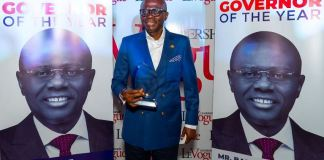 Governor Babajide Sanwo-Olu of Lagos State bagged Governor of the Year Award at the 2020 Leadership Group Annual Conference and Awards, organized by Leadership Newspapers
