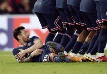 Messi laid down to prevent Kevin DeBryune from shooting a low free-kick