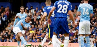 Gabriel Jesus managed to curl a deflected shot from Joan Cancelo into Chelsea's net