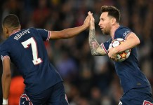Messi scored twice to give PSG the lead against Leipzig