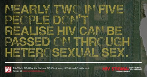 yellow text on a grey-brown background: nearly 2 in 5 people don't realise HIV can be passed on through heterosexual sex' from the world aids day/ national aids trust in the uk