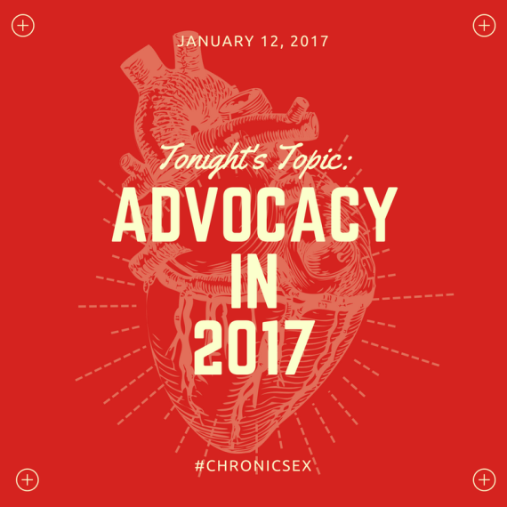 red background featuring an anatomically correct heart overlay; 'tonight's topic: advocacy in 2017'