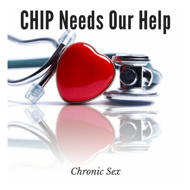 "white background with a stethoscope featuring a red heart; black text at top middle ""CHIP Needs Our Help"" and at bottom middle ""Not Standing Still's Disease"""