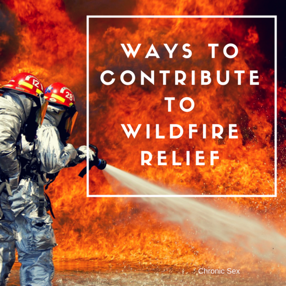 "a photo of two firefighters dressed up and using a fire hose to combat a large wildfire; a white box surrounds white text ""Ways to Contribute to Wildfire Relief"""