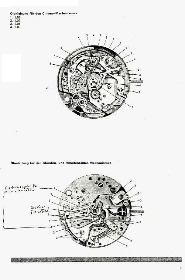 Omega c.1040 Chronograph Service Manual in German