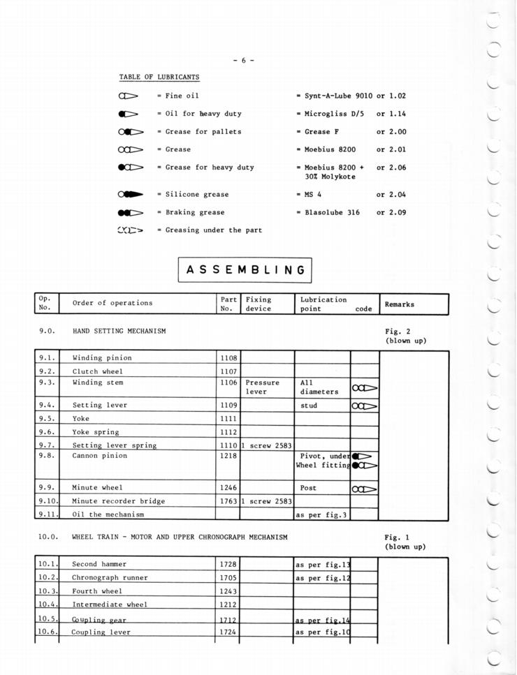 Omega c.1045 Chronograph Service Manual in English