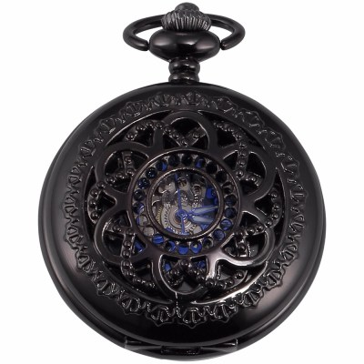 black pocket watch with intricate carvings
