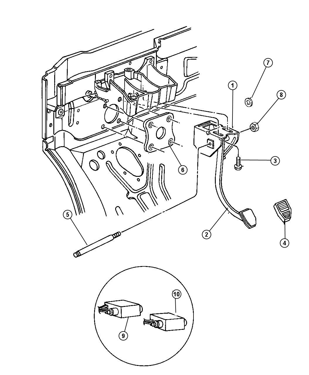 Chrysler Town & Country Bracket. Brake pedal. W/auto