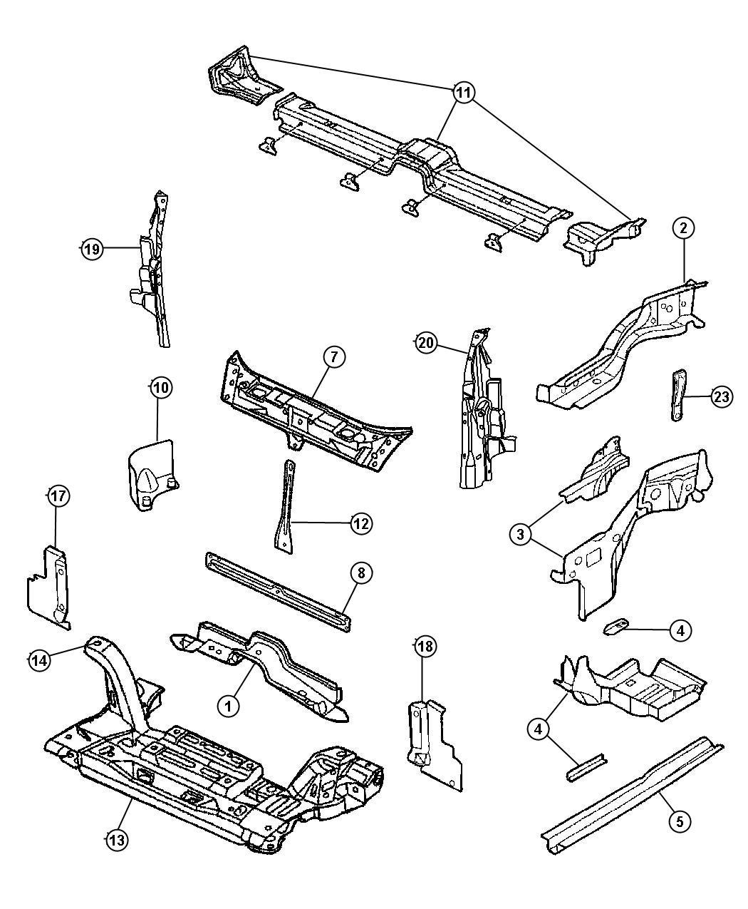 Chrysler Pt Cruiser Strut Front Suspension Crossmember To Rail Pencil Strut