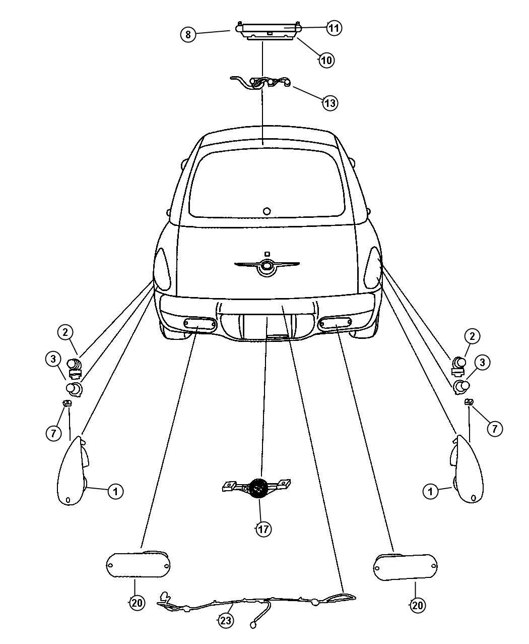 2003 Chrysler PT Cruiser Lamp. Backup. Export. Lamps, rear