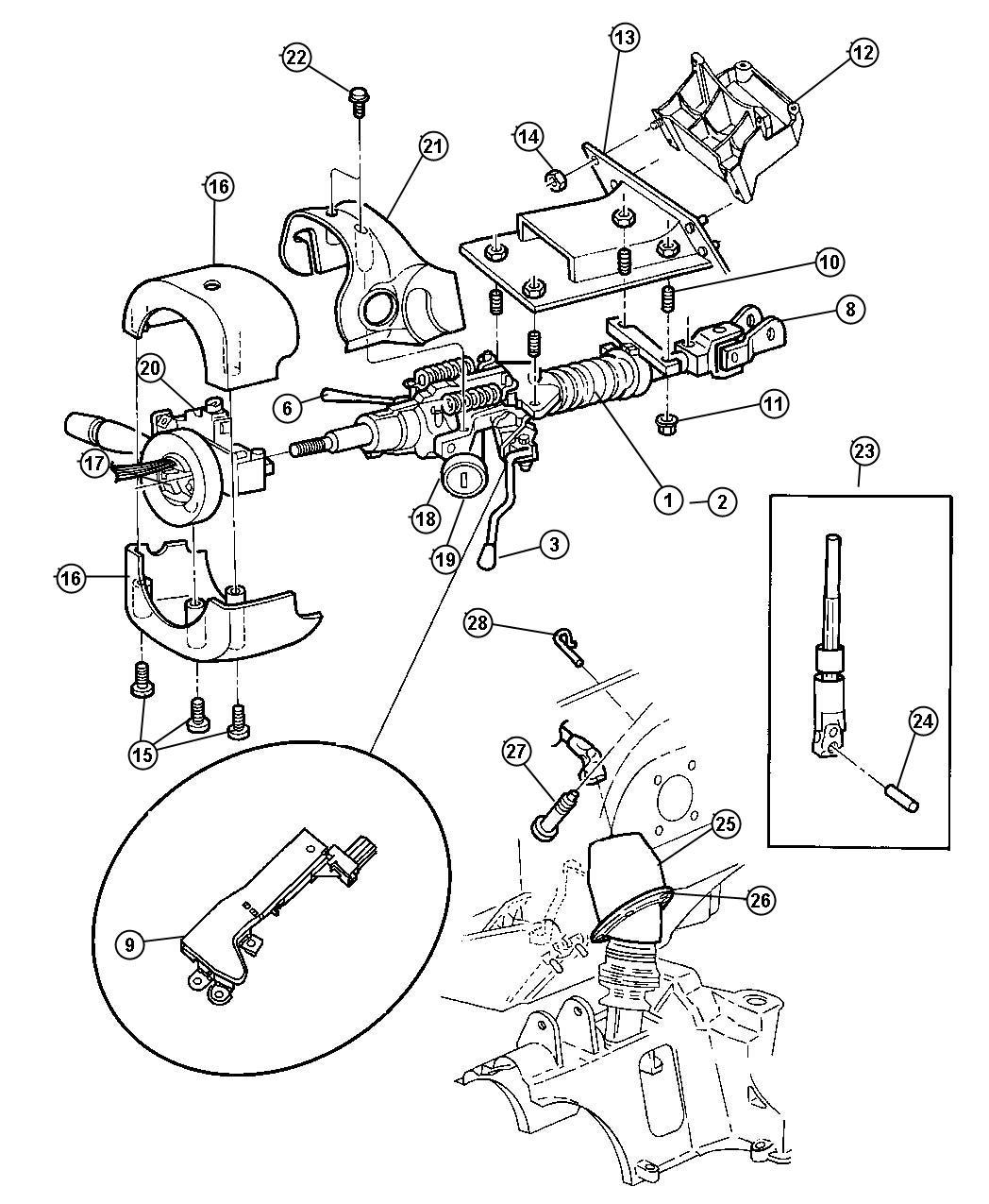 2005 Chrysler Town & Country Shroud. Steering column. Trim