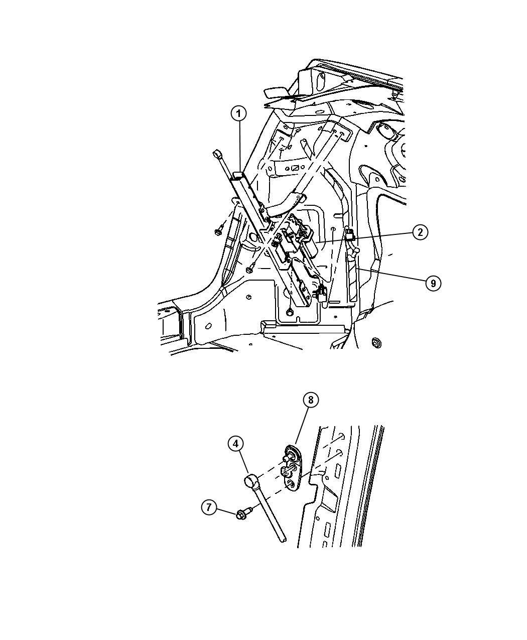 Chrysler PT Cruiser Grommet. Glass, wiper motor and