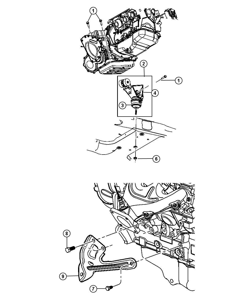 2008 Chrysler Pacifica Isolator. Engine mount. Rear
