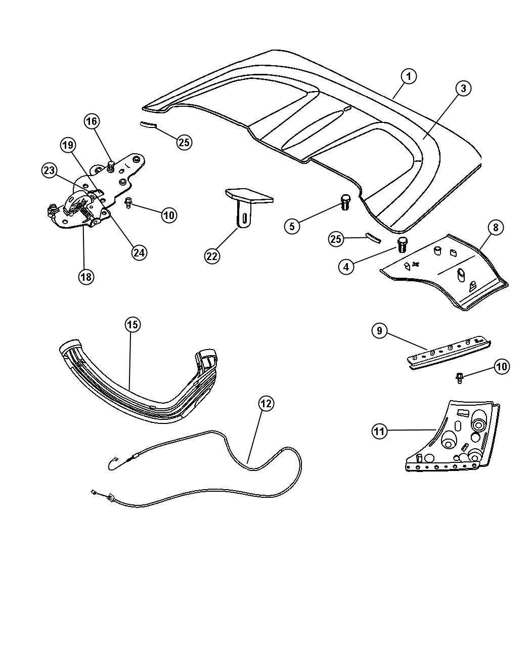 Chrysler Crossfire Bracket. Trunk divider panel. Includes