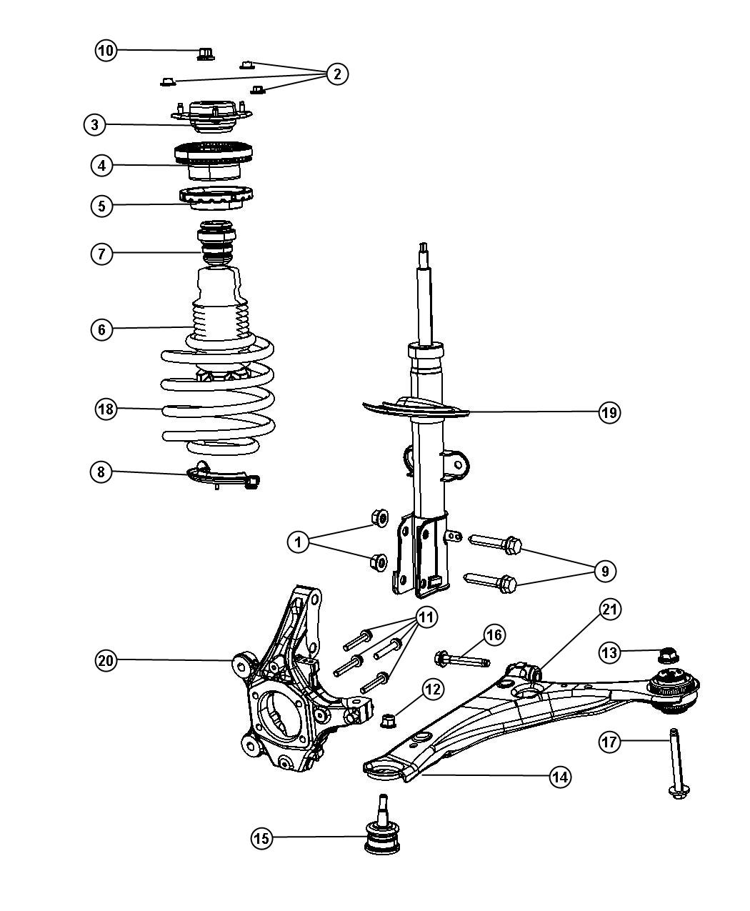 Chrysler Town Amp Country Bolt Strut To Knuckle