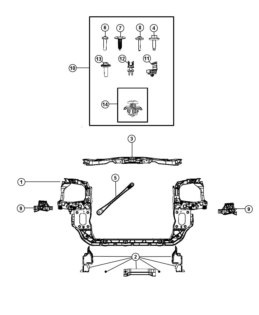 2010 Chrysler Town & Country Fastener kit. Front end