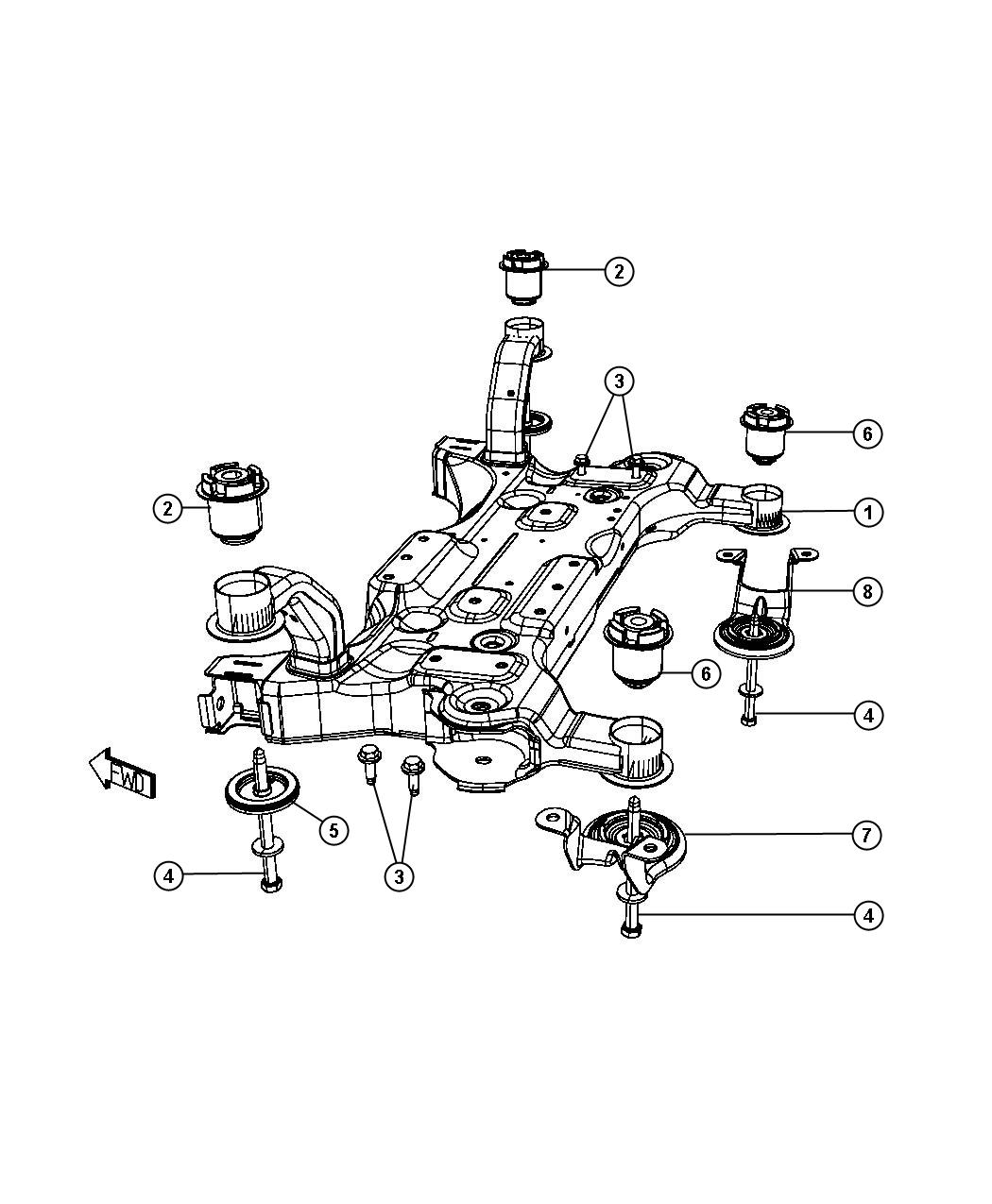 Chrysler Town & Country Isolator. Cradle. Front