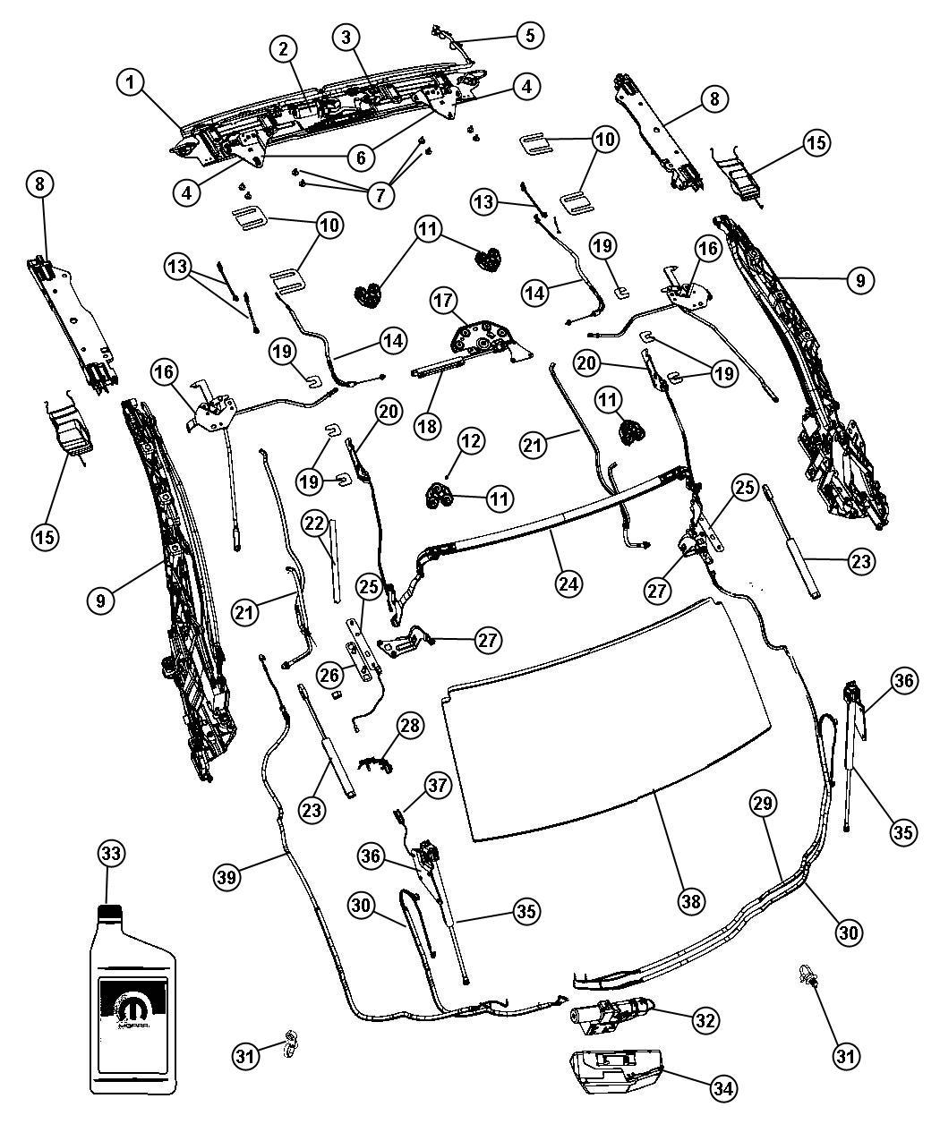 Chrysler 200 Switch. Folding top. [vho], [vto], header