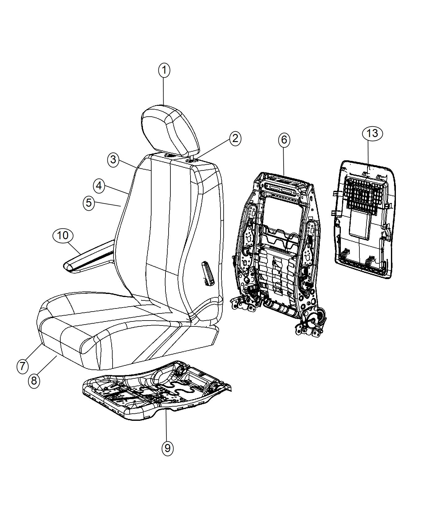 2016 Chrysler Town & Country Armrest. Front seat. Left