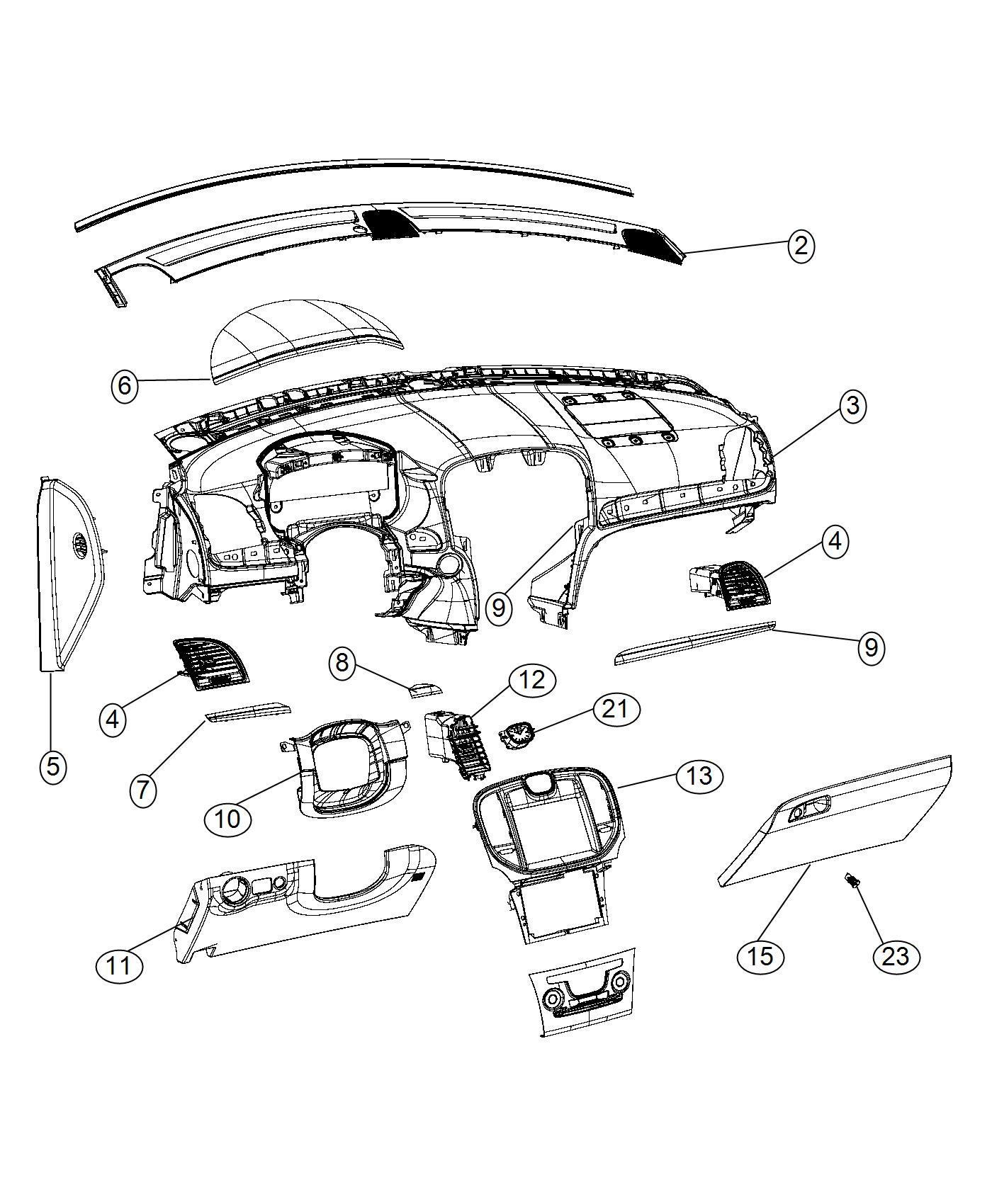 2016 Chrysler 300 Bezel. Hood. Trim: [no description