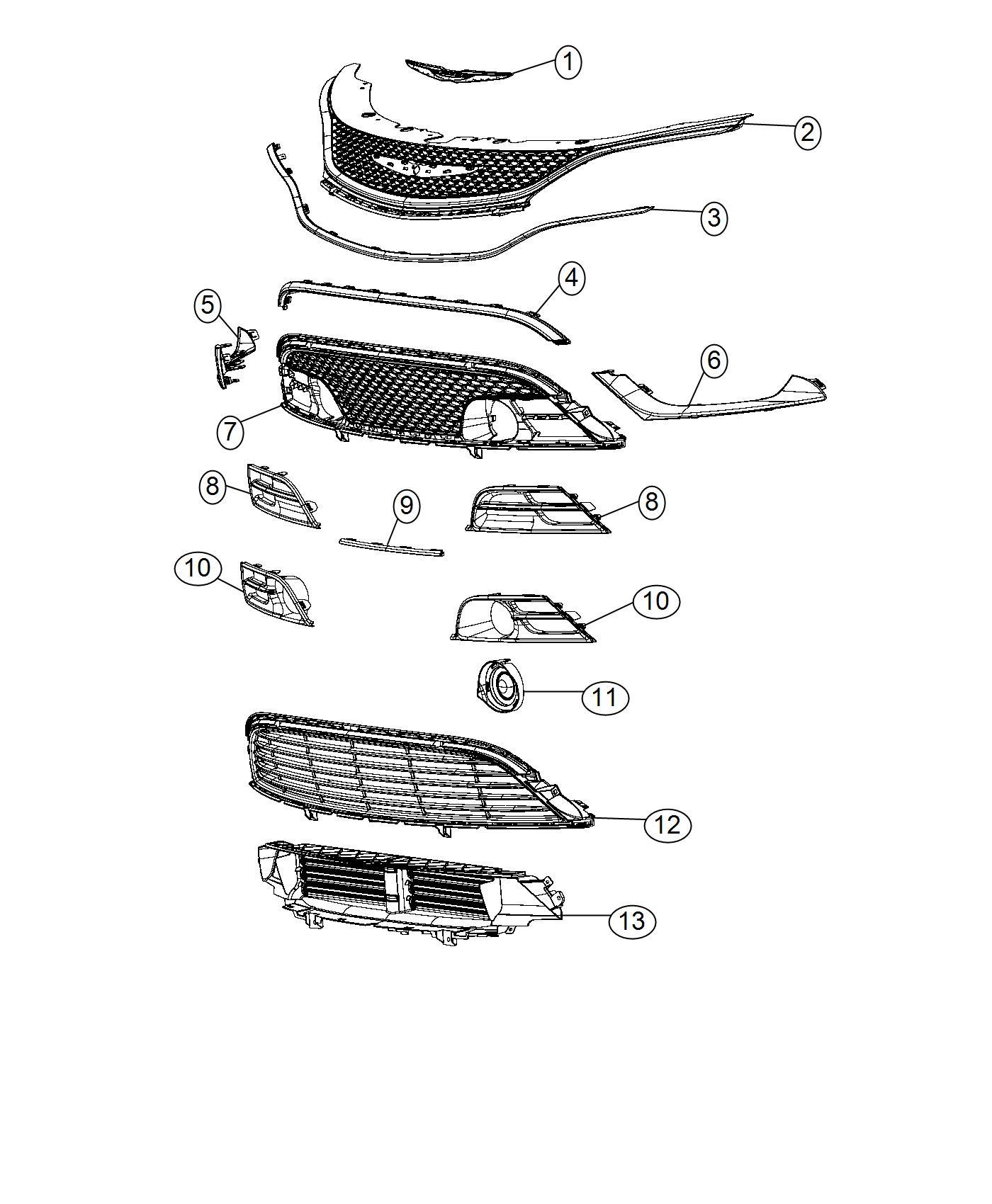 Chrysler 200 Grille. Active shutter. Fascias, shutters