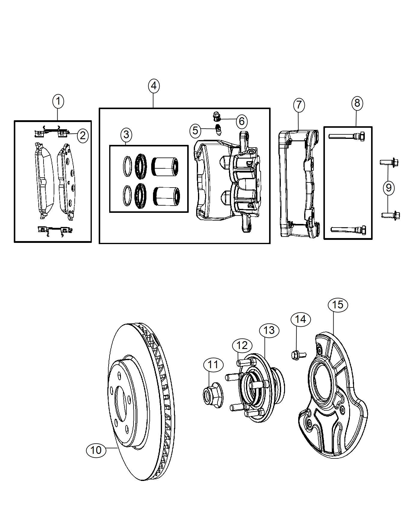 2017 Chrysler 300 Adapter. Disc brake caliper. Export