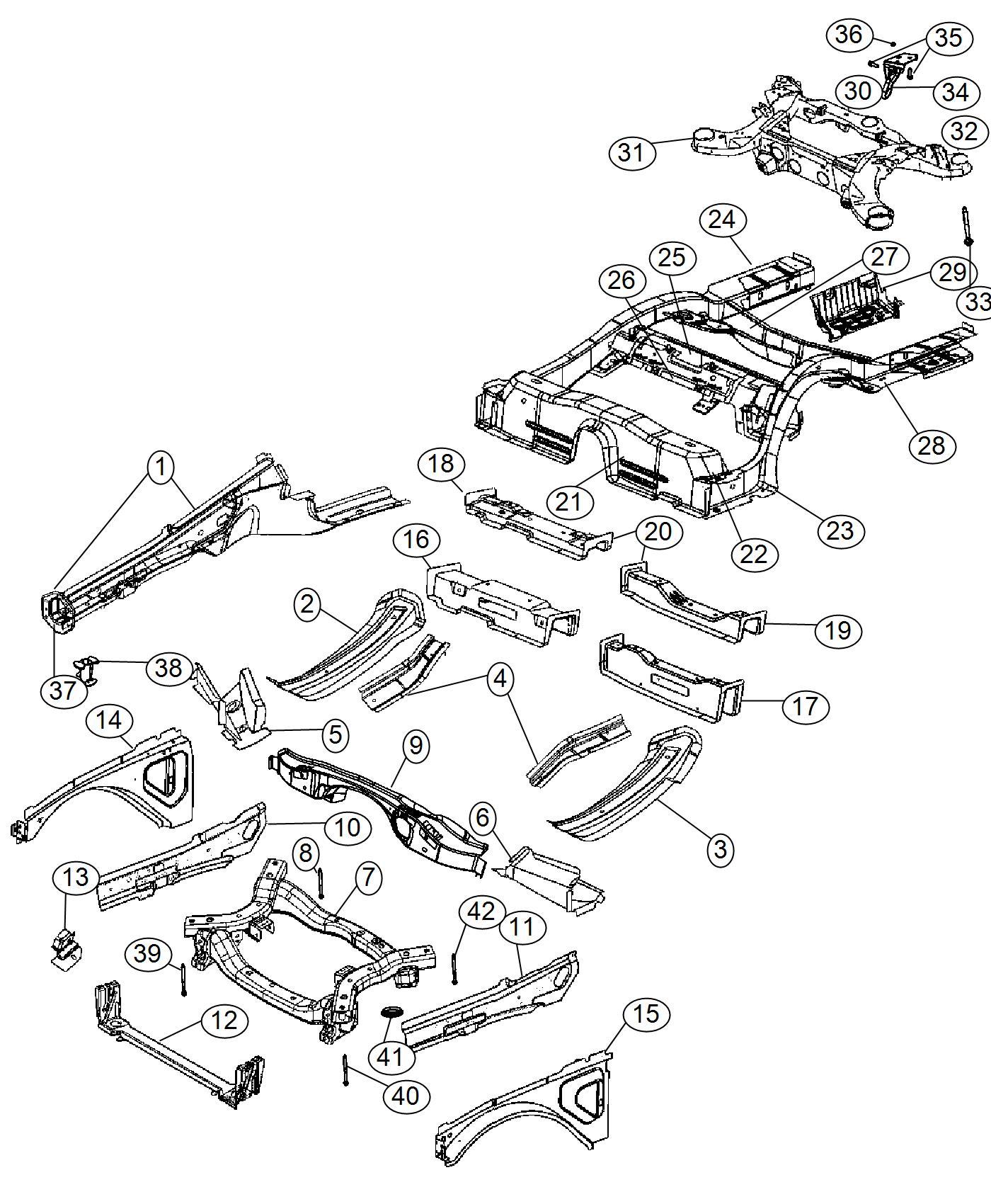 2016 Chrysler 300 Crossmember. Front suspension. Module