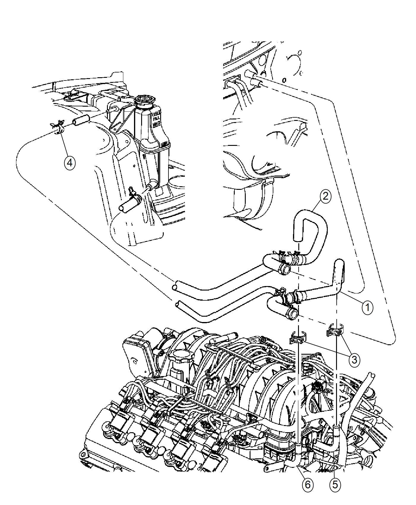 2007 Chrysler 300 Tube. Coolant outlet. Heater, plumbing