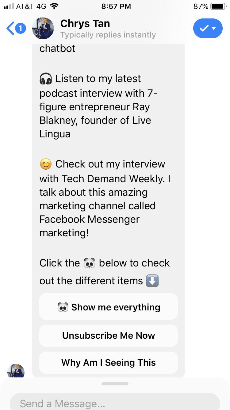 Messenger chatbot unsubscribe
