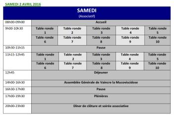 Journées francophones de la mucoviscidose à Lille planning samedi