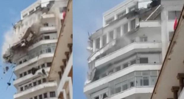 البيضاء..انهيار جزء من واجهة إقامة سكنية