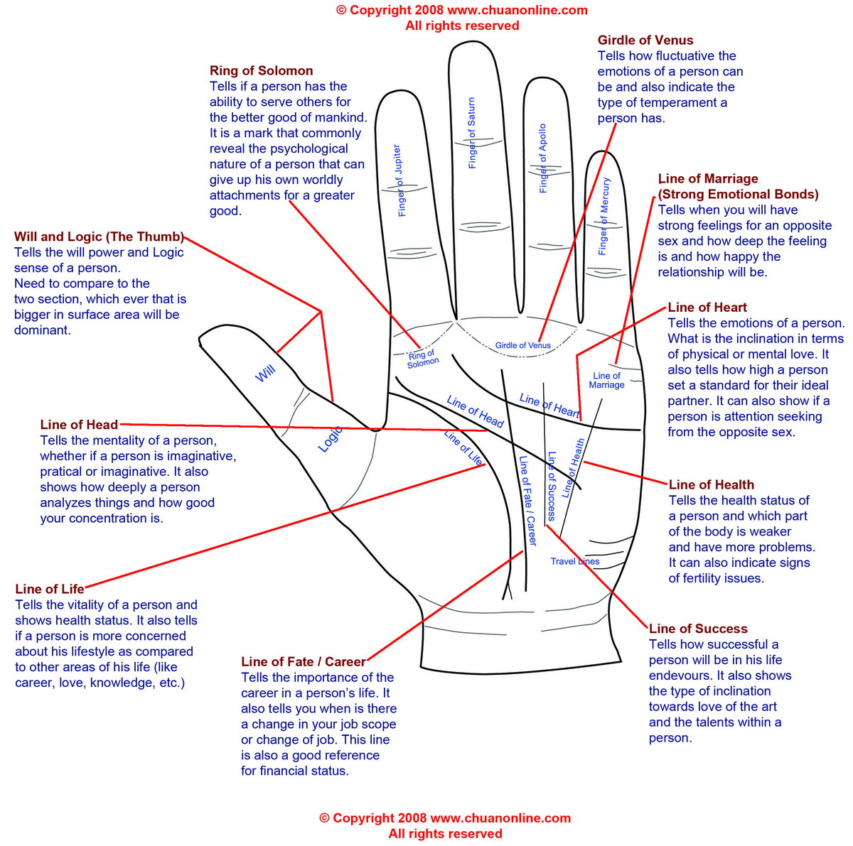 hight resolution of palm reading diagram and palmistry diagram