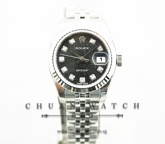 Rolex Ladies DateJust 26mm 179174 Black Jubilee Diamonds