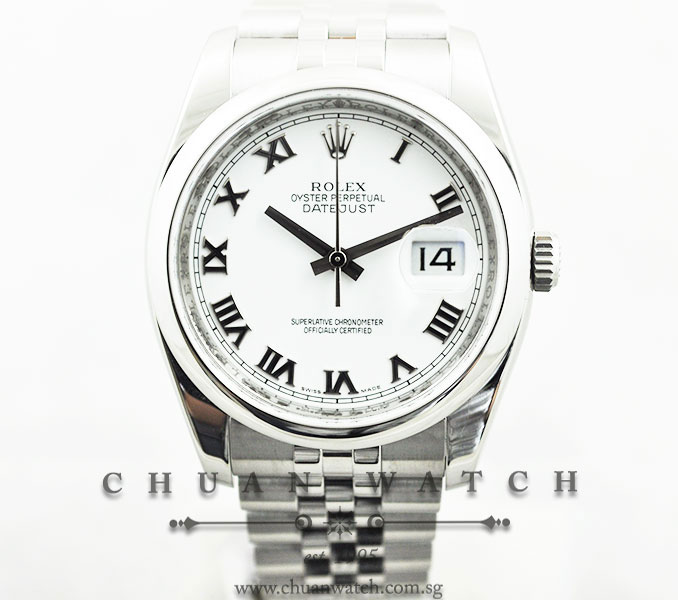 Rolex Gents DateJust 36mm 116200 White Roman :: Chuan